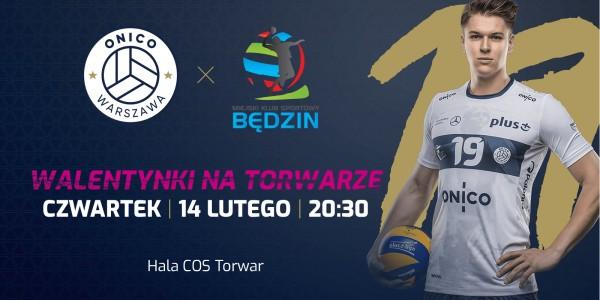 Plakat meczu ONICO Warszawa vs MKS Będzin