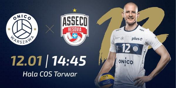 Plakat meczu ONICO Warszawa vs Asseco Resovia Rzeszów