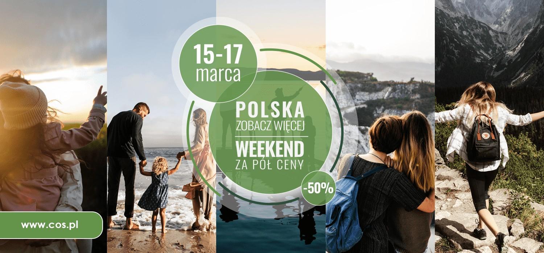 Plakat akcji Weekend za pół ceny